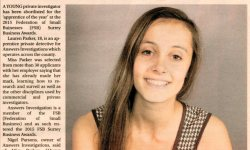 Surrey advertiser apprentice of the year Lauren Parker private detective